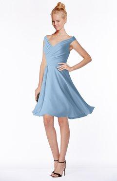 3409a6e0754 ColsBM Chloe Dusty Blue Classic Fit-n-Flare Zip up Chiffon Knee Length  Ruching
