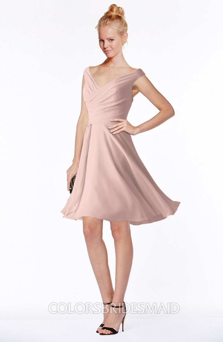 3d5624bf61b29 ColsBM Chloe. Dusty Rose Classic Fit-n-Flare Zip up Chiffon Knee Length  Ruching Bridesmaid Dresses