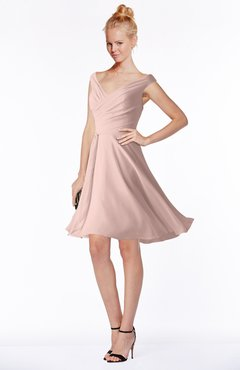 ColsBM Chloe Dusty Rose Classic Fit-n-Flare Zip up Chiffon Knee Length Ruching Bridesmaid Dresses