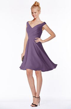 ColsBM Chloe Eggplant Classic Fit-n-Flare Zip up Chiffon Knee Length Ruching Bridesmaid Dresses
