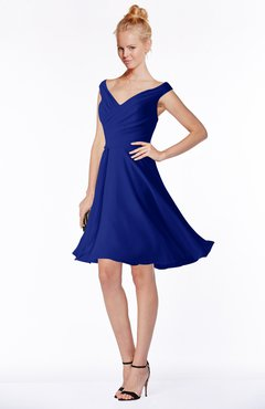 ColsBM Chloe Electric Blue Classic Fit-n-Flare Zip up Chiffon Knee Length Ruching Bridesmaid Dresses
