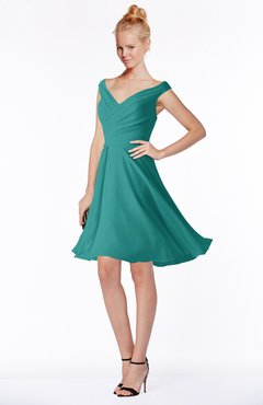 ColsBM Chloe Emerald Green Classic Fit-n-Flare Zip up Chiffon Knee Length Ruching Bridesmaid Dresses