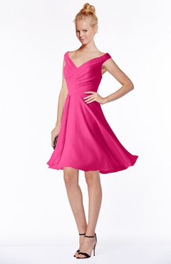 ColsBM Chloe Fandango Pink Classic Fit-n-Flare Zip up Chiffon Knee Length Ruching Bridesmaid Dresses