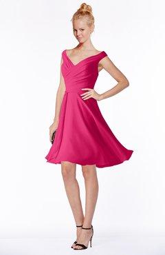 ColsBM Chloe Fuschia Classic Fit-n-Flare Zip up Chiffon Knee Length Ruching Bridesmaid Dresses