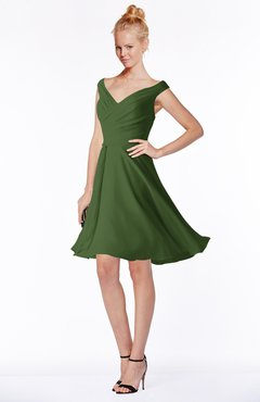ColsBM Chloe Garden Green Classic Fit-n-Flare Zip up Chiffon Knee Length Ruching Bridesmaid Dresses