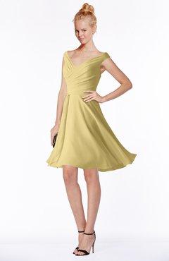 ColsBM Chloe Gold Classic Fit-n-Flare Zip up Chiffon Knee Length Ruching Bridesmaid Dresses