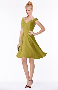 ColsBM Chloe Golden Olive Classic Fit-n-Flare Zip up Chiffon Knee Length Ruching Bridesmaid Dresses