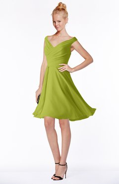 ColsBM Chloe Green Oasis Classic Fit-n-Flare Zip up Chiffon Knee Length Ruching Bridesmaid Dresses