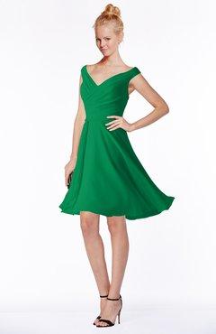 ColsBM Chloe Green Classic Fit-n-Flare Zip up Chiffon Knee Length Ruching Bridesmaid Dresses