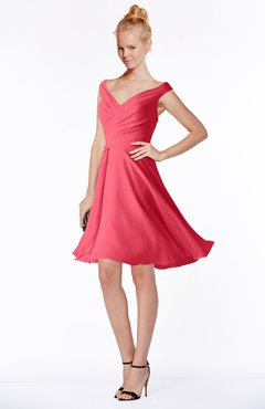 ColsBM Chloe Guava Classic Fit-n-Flare Zip up Chiffon Knee Length Ruching Bridesmaid Dresses