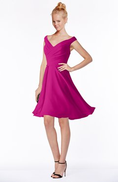 ColsBM Chloe Hot Pink Classic Fit-n-Flare Zip up Chiffon Knee Length Ruching Bridesmaid Dresses