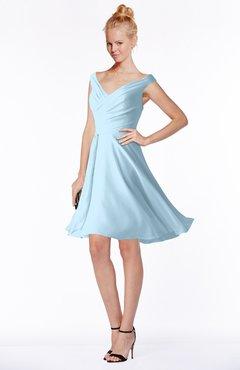 ColsBM Chloe Ice Blue Classic Fit-n-Flare Zip up Chiffon Knee Length Ruching Bridesmaid Dresses