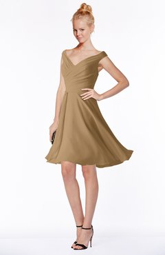 ColsBM Chloe Indian Tan Classic Fit-n-Flare Zip up Chiffon Knee Length Ruching Bridesmaid Dresses