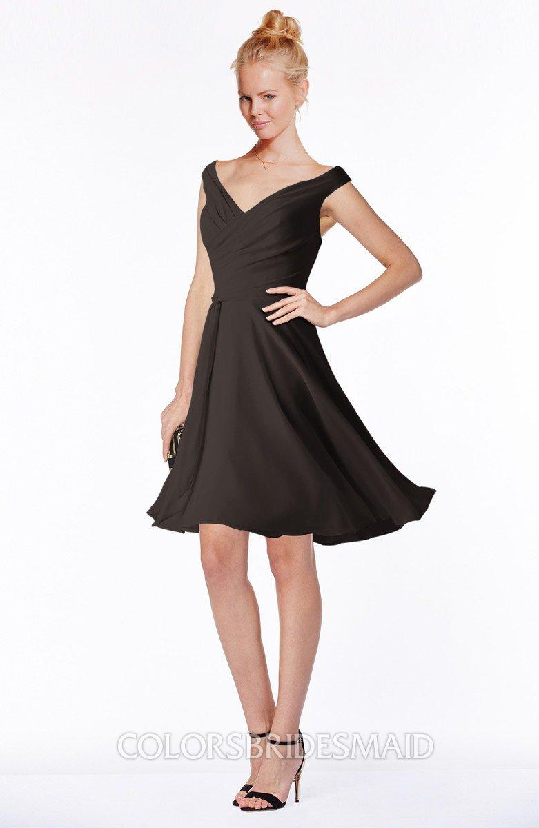 2c8b1869779a ColsBM Chloe Java Classic Fit-n-Flare Zip up Chiffon Knee Length Ruching  Bridesmaid