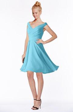 ColsBM Chloe Light Blue Classic Fit-n-Flare Zip up Chiffon Knee Length Ruching Bridesmaid Dresses