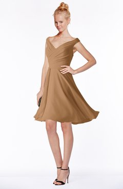 ColsBM Chloe Light Brown Classic Fit-n-Flare Zip up Chiffon Knee Length Ruching Bridesmaid Dresses