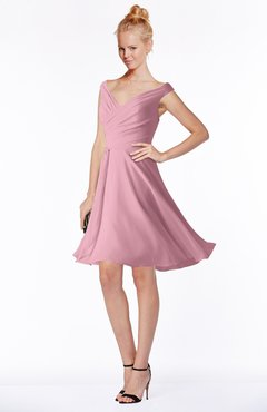 ColsBM Chloe Light Coral Classic Fit-n-Flare Zip up Chiffon Knee Length Ruching Bridesmaid Dresses