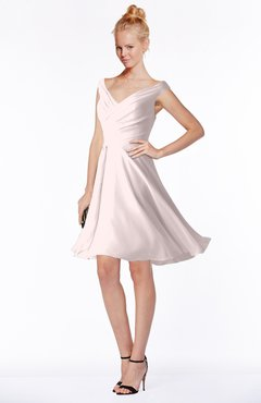 ColsBM Chloe Light Pink Classic Fit-n-Flare Zip up Chiffon Knee Length Ruching Bridesmaid Dresses