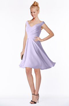 ColsBM Chloe Light Purple Classic Fit-n-Flare Zip up Chiffon Knee Length Ruching Bridesmaid Dresses