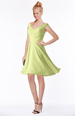 ColsBM Chloe Lime Sherbet Classic Fit-n-Flare Zip up Chiffon Knee Length Ruching Bridesmaid Dresses
