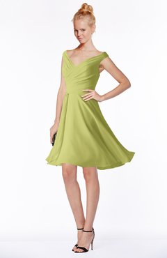 ColsBM Chloe Linden Green Classic Fit-n-Flare Zip up Chiffon Knee Length Ruching Bridesmaid Dresses