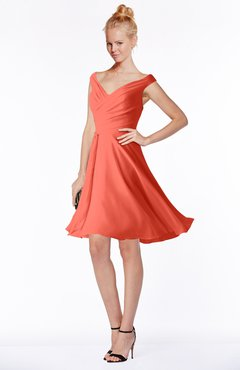 ColsBM Chloe Living Coral Classic Fit-n-Flare Zip up Chiffon Knee Length Ruching Bridesmaid Dresses