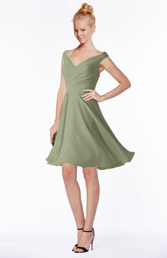 ColsBM Chloe Moss Green Classic Fit-n-Flare Zip up Chiffon Knee Length Ruching Bridesmaid Dresses