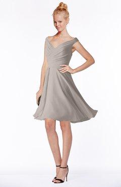 ColsBM Chloe Mushroom Classic Fit-n-Flare Zip up Chiffon Knee Length Ruching Bridesmaid Dresses
