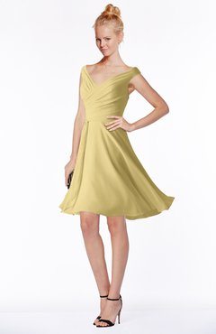 ColsBM Chloe New Wheat Classic Fit-n-Flare Zip up Chiffon Knee Length Ruching Bridesmaid Dresses