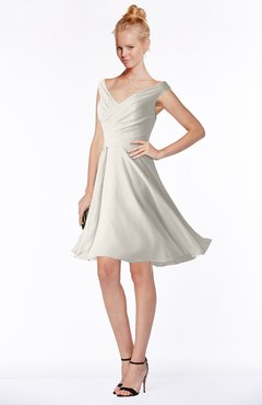 ColsBM Chloe Off White Classic Fit-n-Flare Zip up Chiffon Knee Length Ruching Bridesmaid Dresses