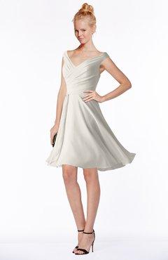 ColsBM Chloe Off White Classic Fit-n-Flare Zip up Chiffon Knee Length Ruching Bridesmaid Dresses