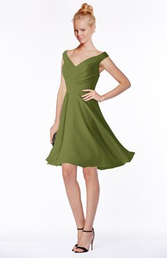 ColsBM Chloe Olive Green Classic Fit-n-Flare Zip up Chiffon Knee Length Ruching Bridesmaid Dresses