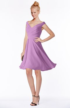 ColsBM Chloe Orchid Classic Fit-n-Flare Zip up Chiffon Knee Length Ruching Bridesmaid Dresses