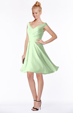 ColsBM Chloe Pale Green Classic Fit-n-Flare Zip up Chiffon Knee Length Ruching Bridesmaid Dresses
