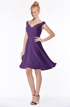 ColsBM Chloe Pansy Classic Fit-n-Flare Zip up Chiffon Knee Length Ruching Bridesmaid Dresses
