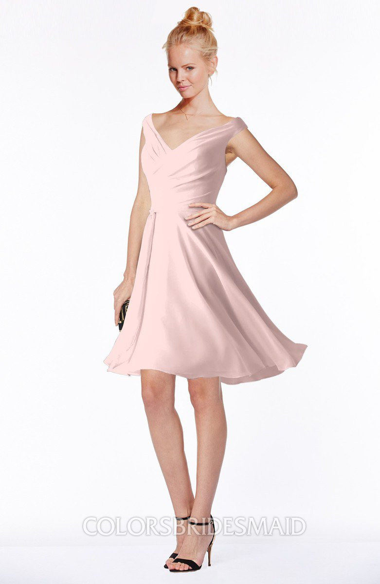 Pastel pink classic fit n flare zip up chiffon knee length for Knee length fitted wedding dresses