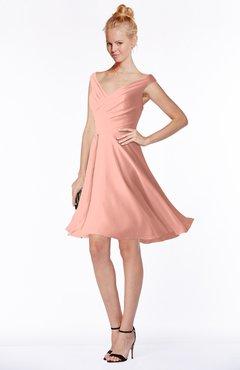 ColsBM Chloe Peach Classic Fit-n-Flare Zip up Chiffon Knee Length Ruching Bridesmaid Dresses