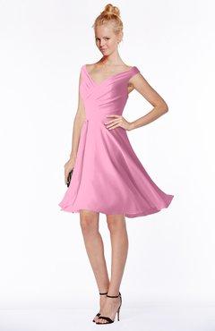 ColsBM Chloe Pink Classic Fit-n-Flare Zip up Chiffon Knee Length Ruching Bridesmaid Dresses