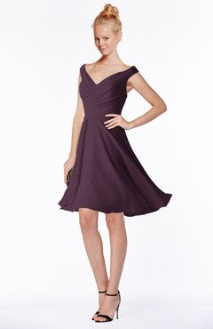 ColsBM Chloe Plum Classic Fit-n-Flare Zip up Chiffon Knee Length Ruching Bridesmaid Dresses