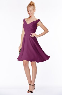 ColsBM Chloe Raspberry Classic Fit-n-Flare Zip up Chiffon Knee Length Ruching Bridesmaid Dresses