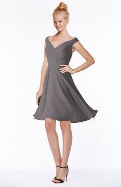 ColsBM Chloe Ridge Grey Classic Fit-n-Flare Zip up Chiffon Knee Length Ruching Bridesmaid Dresses