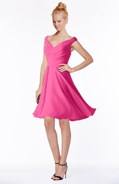 ColsBM Chloe Rose Pink Classic Fit-n-Flare Zip up Chiffon Knee Length Ruching Bridesmaid Dresses
