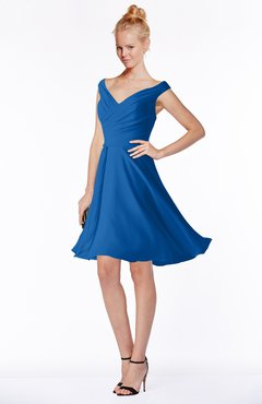 ColsBM Chloe Royal Blue Classic Fit-n-Flare Zip up Chiffon Knee Length Ruching Bridesmaid Dresses