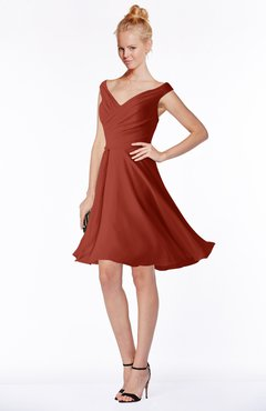 ColsBM Chloe Rust Classic Fit-n-Flare Zip up Chiffon Knee Length Ruching Bridesmaid Dresses