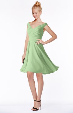 ColsBM Chloe Sage Green Classic Fit-n-Flare Zip up Chiffon Knee Length Ruching Bridesmaid Dresses
