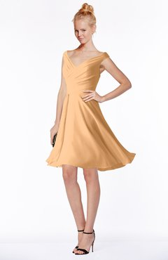 ColsBM Chloe Salmon Buff Classic Fit-n-Flare Zip up Chiffon Knee Length Ruching Bridesmaid Dresses