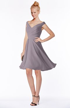 ColsBM Chloe Sea Fog Classic Fit-n-Flare Zip up Chiffon Knee Length Ruching Bridesmaid Dresses