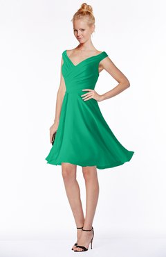 ColsBM Chloe Sea Green Classic Fit-n-Flare Zip up Chiffon Knee Length Ruching Bridesmaid Dresses