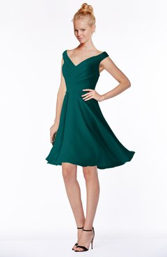 ColsBM Chloe Shaded Spruce Classic Fit-n-Flare Zip up Chiffon Knee Length Ruching Bridesmaid Dresses