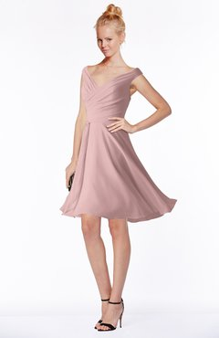 ColsBM Chloe Silver Pink Classic Fit-n-Flare Zip up Chiffon Knee Length Ruching Bridesmaid Dresses